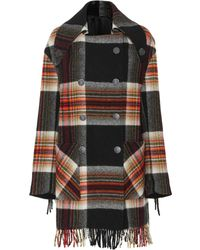 CALVIN KLEIN 205W39NYC - Checked Wool Coat - Lyst