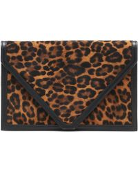 Hunting Season The Envelope Leopard-print Leather-trimmed Clutch - Multicolour