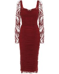 Dolce & Gabbana Ruched Stretch-tulle Dress - Red