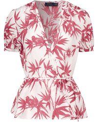 Polo Ralph Lauren Blusa in lino con stampa - Bianco