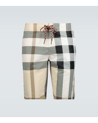 Burberry Large Check Swim Shorts - Natural