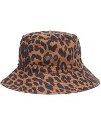 Ganni Leopard-print Cotton Bucket Hat - Brown