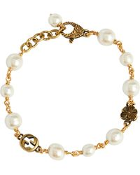 Gucci GG Bracelet With Faux Pearls - Metallic