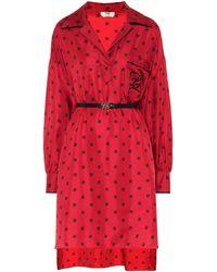 Fendi Printed Silk Dress - Red
