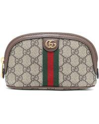 Gucci Beauty case Ophidia GG Medium in tessuto e pelle - Marrone