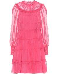 Ulla Johnson Emmeline Pleated Silk Minidress - Pink