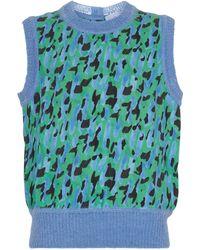 Ferragamo Panelled Mohair-blend Top - Green