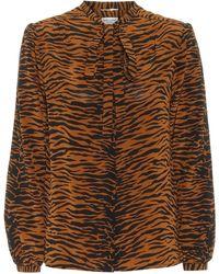 Saint Laurent Camisa de seda con estampado - Naranja