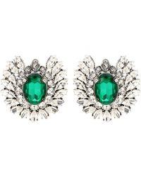 Balenciaga Ohrringe mit Kristallen - Grün