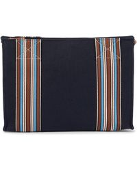 Loro Piana Exclusive To Mytheresa – The Suitcase Stripe Canvas Pouch - Blue