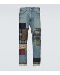 Junya Watanabe Jeans patchwork efecto chevron - Azul