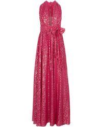 Rebecca Vallance Halter Silk-blend Maxi Dress - Pink