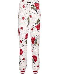 Rodarte Floral Cotton-blend Sweatpants - White