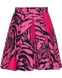 Valentino Printed Silk And Wool Skirt - Pink