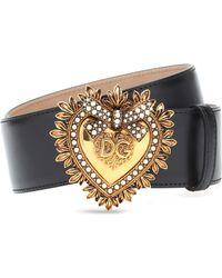 Dolce & Gabbana Devotion Belt In Lux Leather - Schwarz