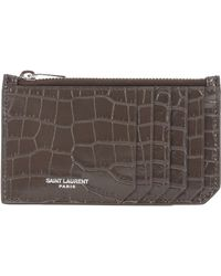 c48b3563cd454 Saint Laurent Monogram Quilted Leather Card Holder in Red - Lyst