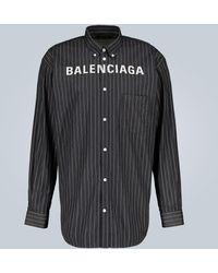 Balenciaga - Nadelstreifen-Hemd mit Logo-Print - Lyst