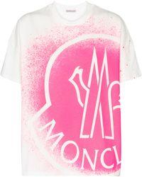 Moncler Bedrucktes T-Shirt aus Baumwolle - Pink