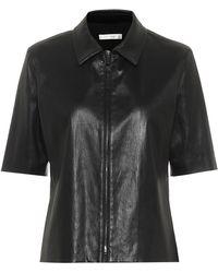 The Row Chloé Zip-through Leather Shirt - Black