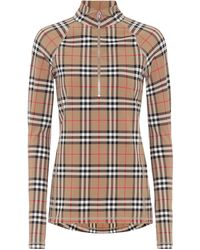 Burberry Vintage Check Turtleneck Top - Natural