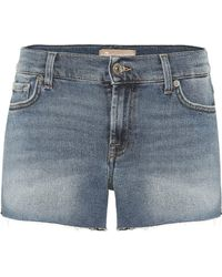 7 For All Mankind - Mid-Rise Jeansshorts - Lyst