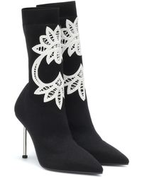 Alexander McQueen Ankle Boots W4jj5 Textile Embroidery Black White