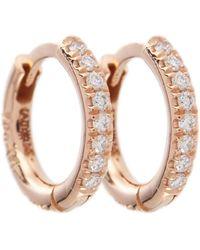 Ileana Makri Orecchini New Mini Hoops in oro rosa 18kt con diamanti