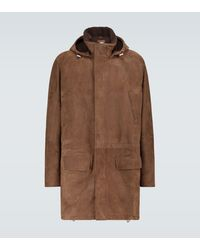 Brunello Cucinelli Suede Parka Jacket - Brown