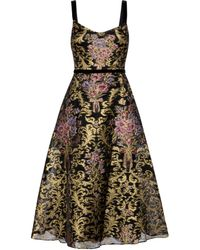 Marchesa notte Floral Brocade Gown - Black