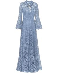 Valentino Embellished Floral-lace Gown - Blue