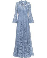 Valentino Verzierte Robe aus Spitze - Blau
