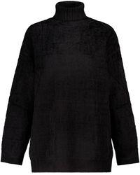 Fendi Ff Stretch-velvet Turtleneck Jumper - Black