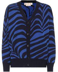 Marni Cárdigan de lana virgen estampado - Azul