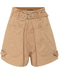 Isabel Marant Ike High-rise Cotton Shorts - Natural