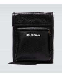 Balenciaga Explorer Arena Leather Strap Pouch - Black