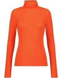 Ganni Pull à col roulé en laine mérinos - Orange
