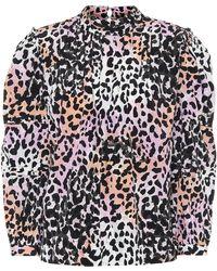 Veronica Beard Lety Leopard-print Stretch-silk Top - Multicolour