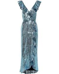 Monique Lhuillier Abito con paillettes - Blu