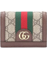 Gucci Ophidia Gg Supreme Compact Wallet - Brown
