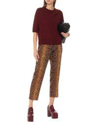 Dries Van Noten Snake-print High-rise Wool Trousers - Metallic