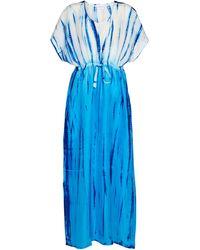 Anna Kosturova Tie-dye Silk Kaftan - Blue