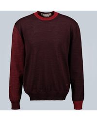 Marni Panelled Virgin Wool Jumper - Red