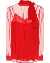 Valentino Bluse aus Chiffon - Rot