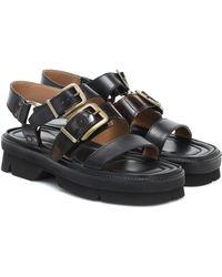 Dries Van Noten Sandalen aus Leder - Schwarz