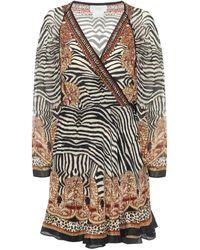 Camilla Printed Silk Wrap Mini Dress - Multicolour
