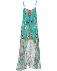 Camilla Asymmetric Floral Silk Dress - Blue