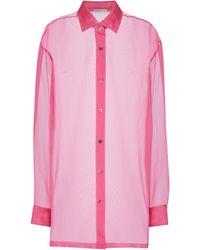 Dries Van Noten Camicia in organza di seta - Rosa