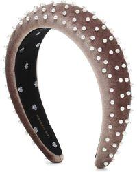 Lele Sadoughi Exclusive To Mytheresa – Embellished Velvet Headband - Natural
