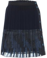 Chloé Pleated Silk Miniskirt - Blue