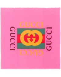 Gucci Logo Modal And Silk Scarf - Pink